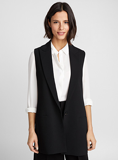 Techno crepe sleeveless jacket