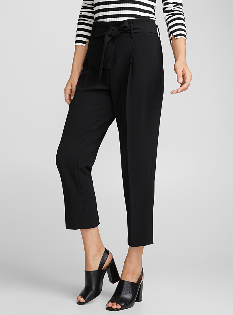 Belted techno crepe pant - Semi-Slim - Black