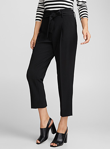 Belted techno crepe ankle-length pant