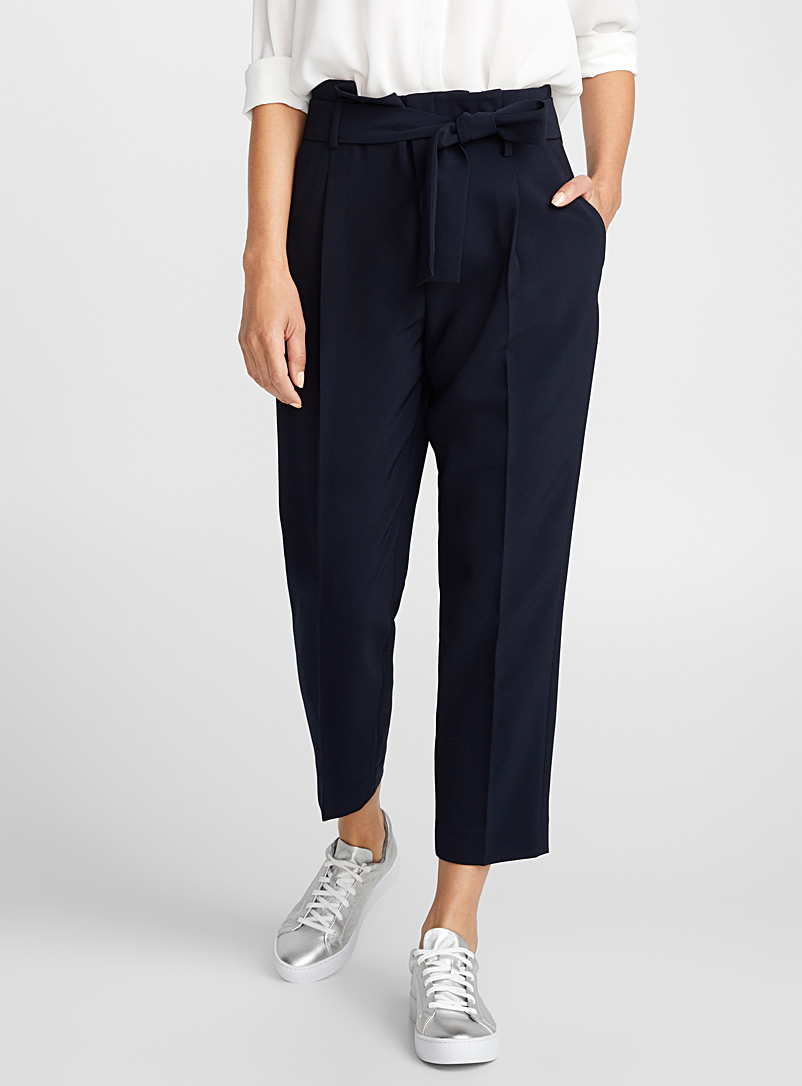 Contemporaine Marine Blue Belted techno crepe pant for women