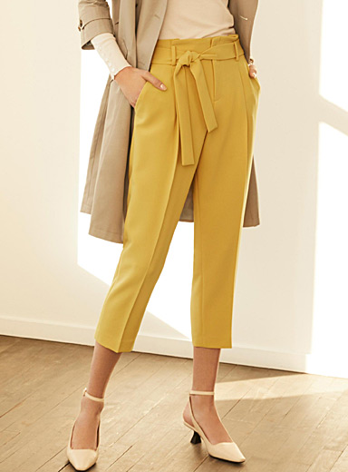Belted techno crepe pant