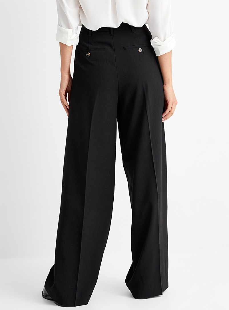Contemporaine Sand Finely woven pleated wide-leg pant for women