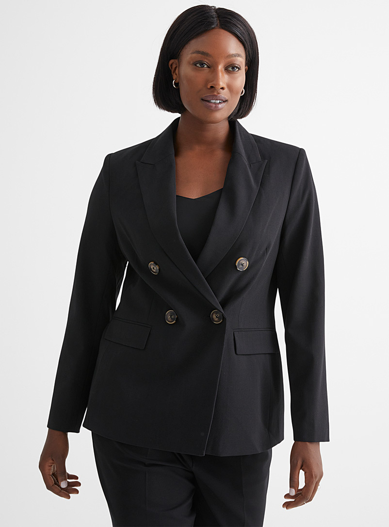 Contemporaine Black Finely woven double-breasted jacket for women