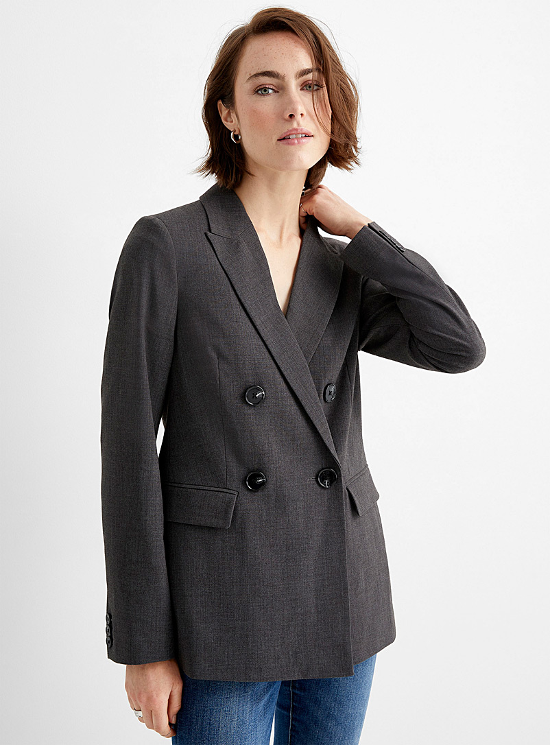 Contemporaine Grey Finely woven double-breasted jacket for women