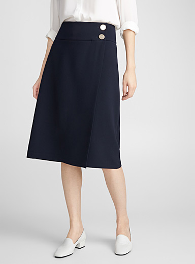 Silver-button wrap skirt