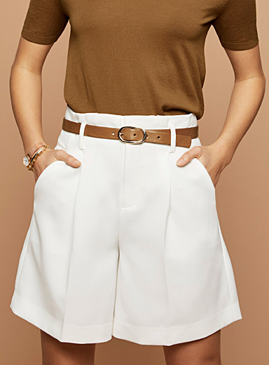 Techno crepe pleated short