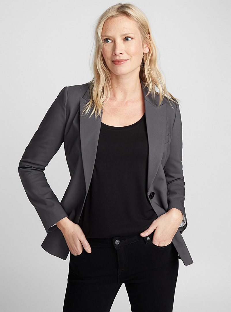 Single-button structured jacket - Blazers - Charcoal