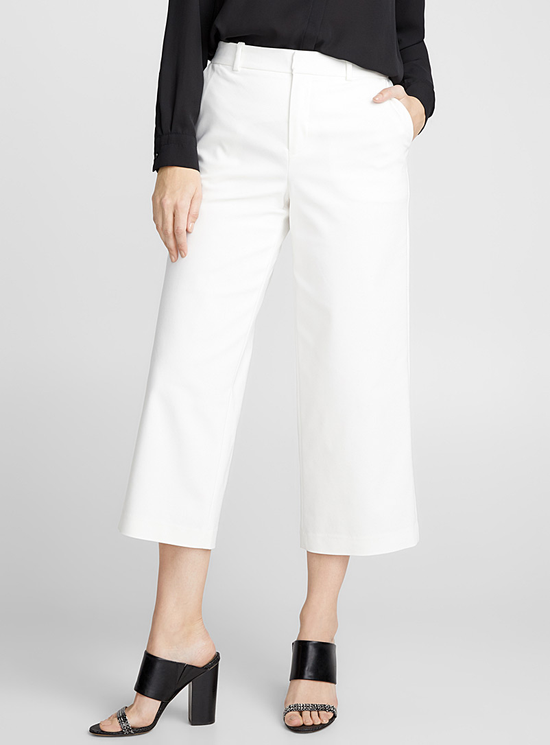 Structured wide-leg crop pant - Pants - Ivory White