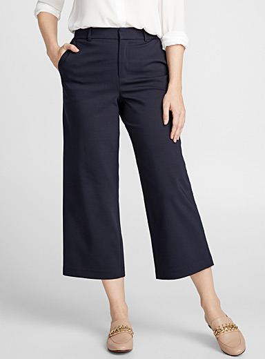 Structured wide-leg crop pant