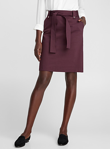 Structured tie-waist skirt