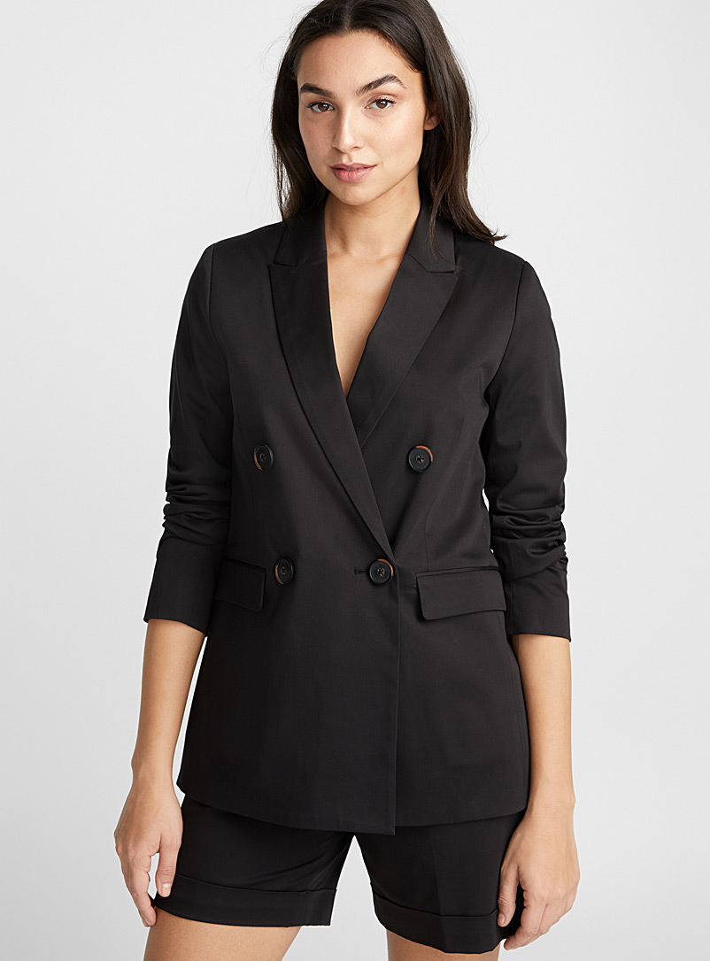 Cotton sateen double-breasted jacket - Blazers