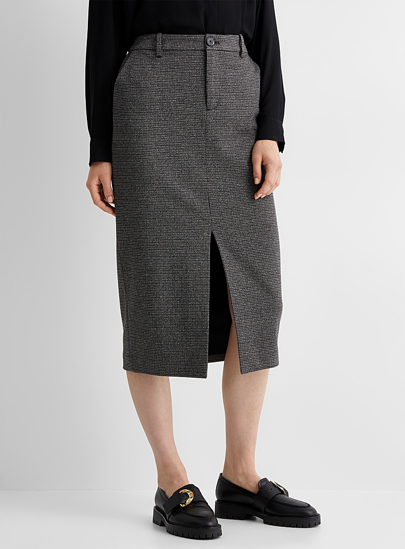 Contemporaine Patterned Brown Houndstooth jacquard midi skirt for women