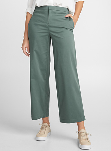 Cotton sateen cropped straight pant