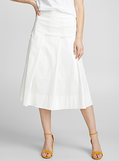 Cotton sateen pleated midi skirt