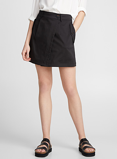 Cotton sateen wrap skort