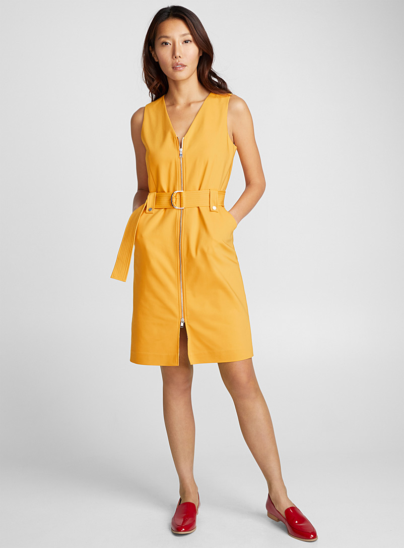 Accent-zip belted dress - Bodycon - Medium Yellow