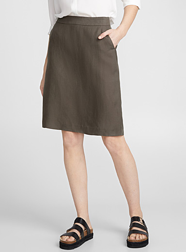 Chic linen straight skirt
