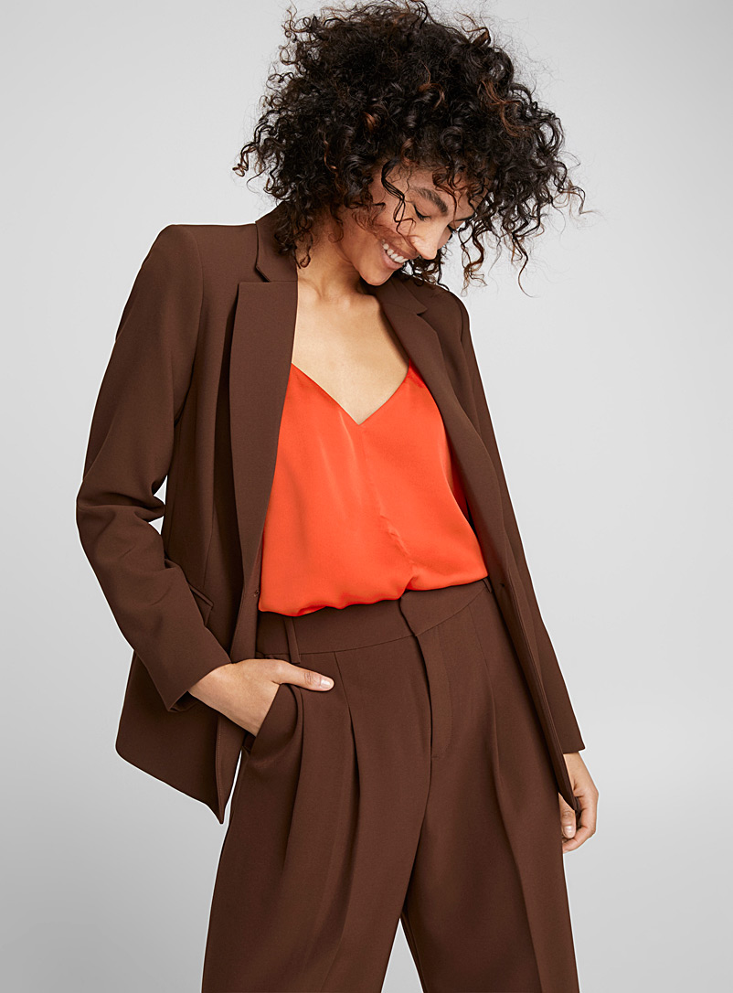 Techno crepe fitted jacket - Blazers - Dark Brown