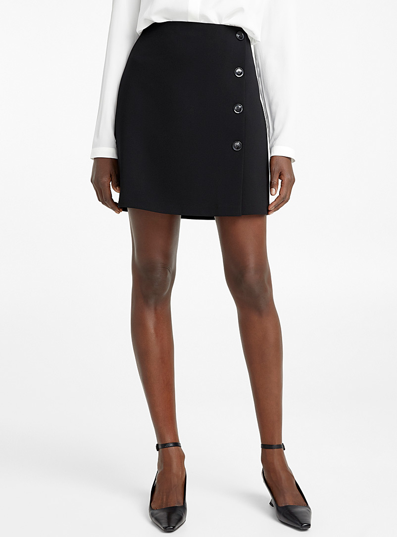 Techno crepe buttoned miniskirt - Skirts - Black