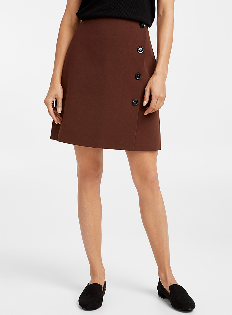 Techno crepe buttoned miniskirt - Skirts - Dark Brown