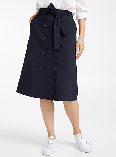 Structured double-breasted skirt