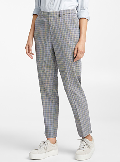 Retro check semi-slim pant