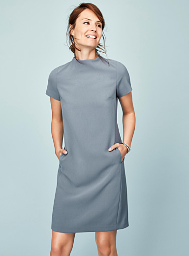 Sleek panelled techno crepe dress