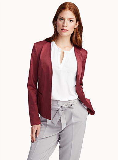 Cotton sateen open jacket