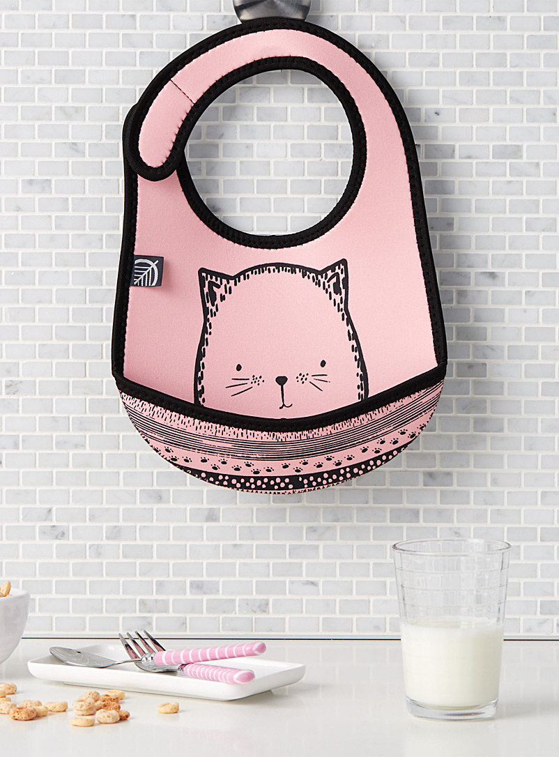 Pink cat neoprene bib