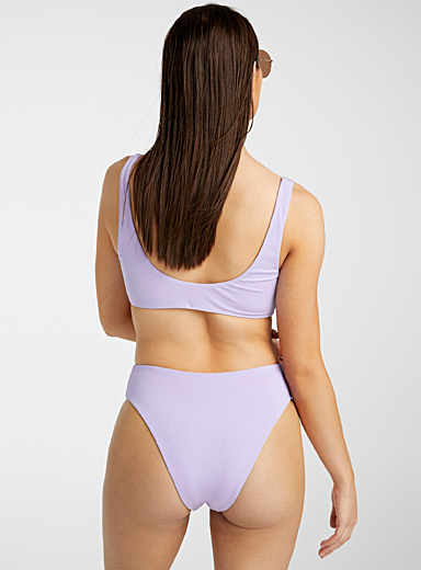 Tori Praver Swimwear Lilacs Finely textured light purple cheeky bottom for women