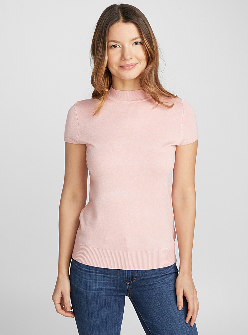 Cap sleeve high-neck sweater - Sweaters - Pink