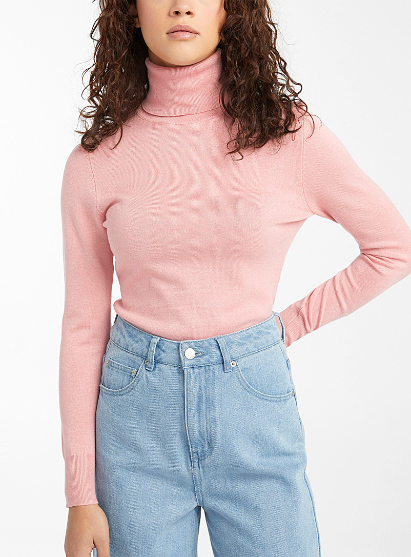 Basic mini-ribbed turtleneck sweater