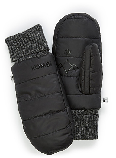 Packable down quilted mittens
