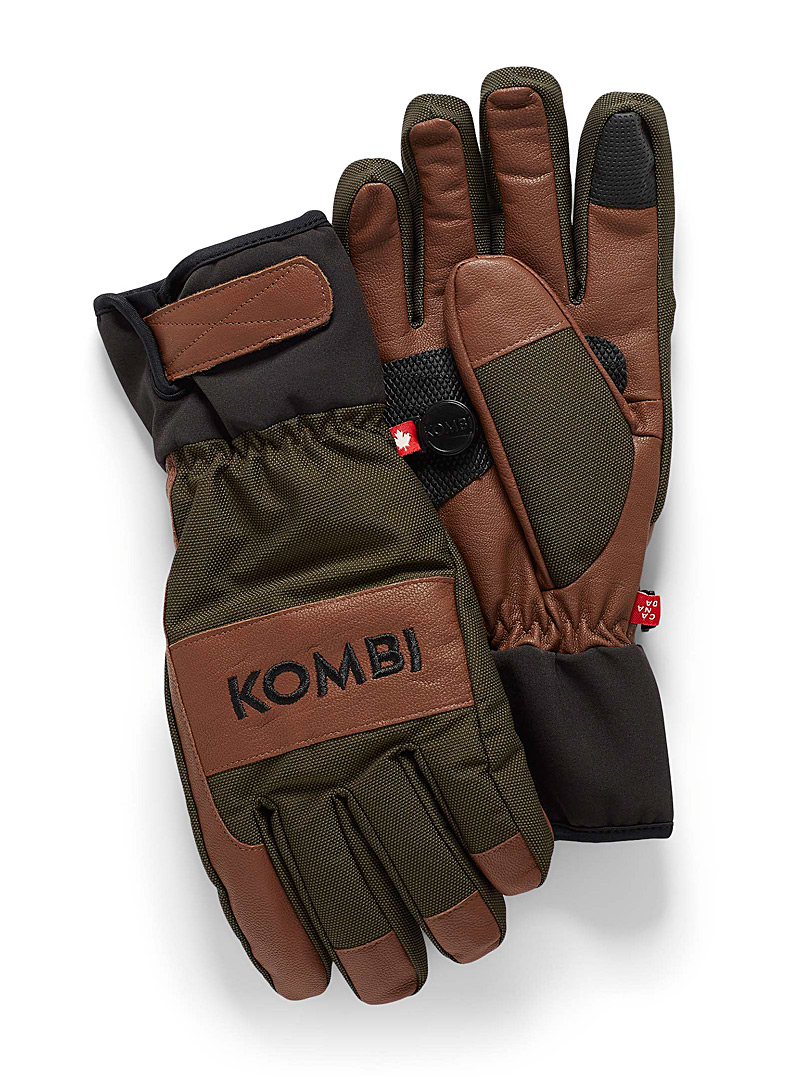 Kombi Patterned Green Rover mixed media gloves for men