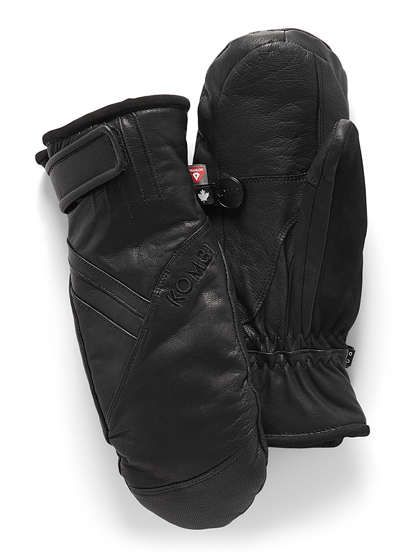 Distinct insulated leather mittens
