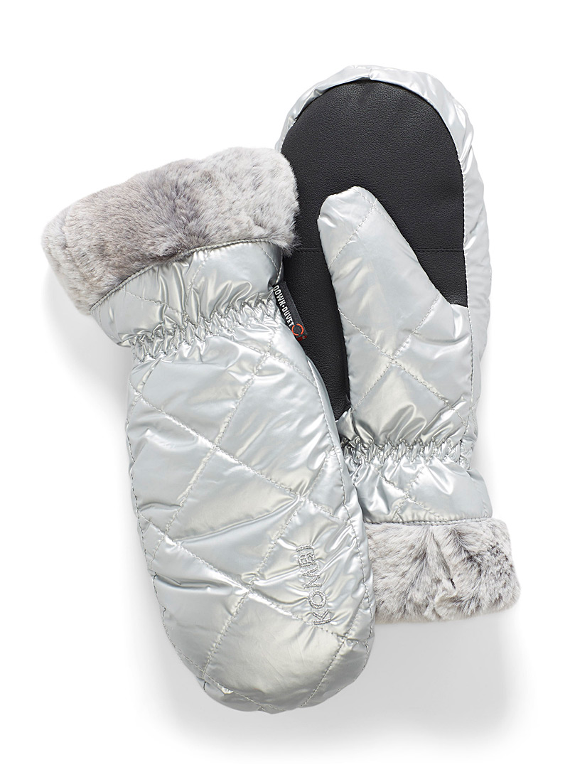 Kombi Silver Faux-fur trim insulated mittens for women