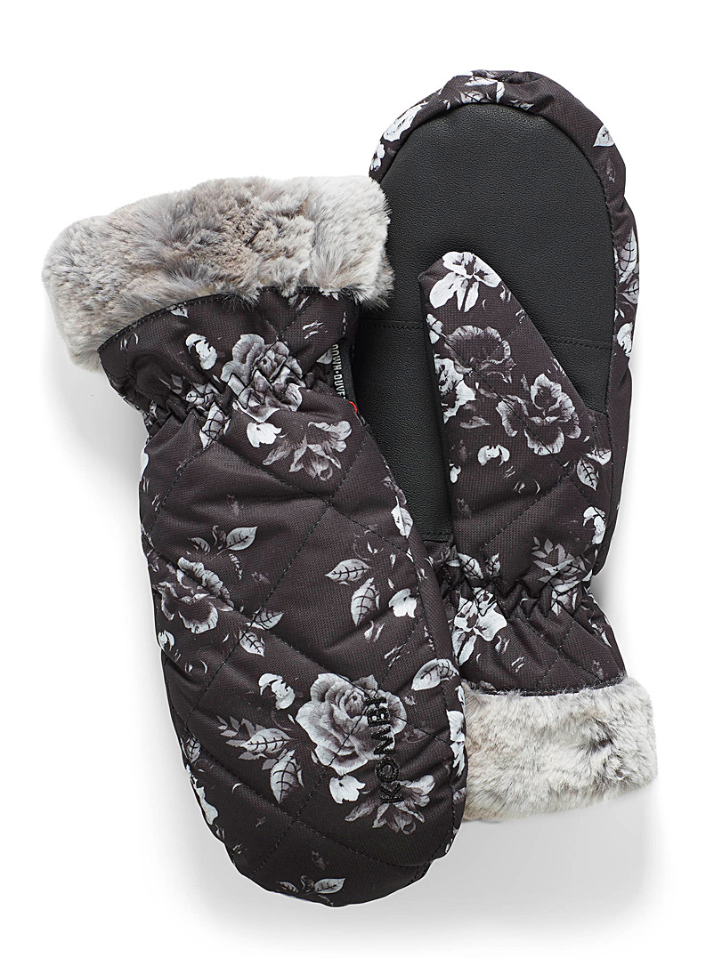 Kombi Patterned Black Faux-fur trim insulated mittens for women