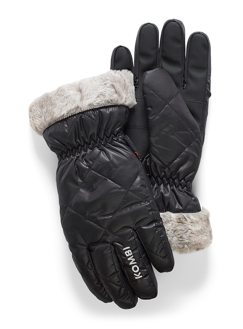 Faux-fur trim insulated gloves