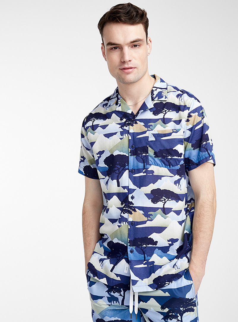 Onia Patterned Blue Savannah blues shirt for men
