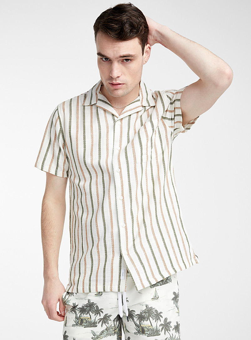 Onia Patterned Ecru Vertical tribal shirt for men