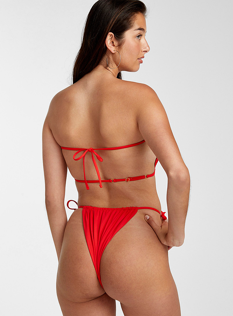 WeWoreWhat Red Sliding string cheeky bottom for women