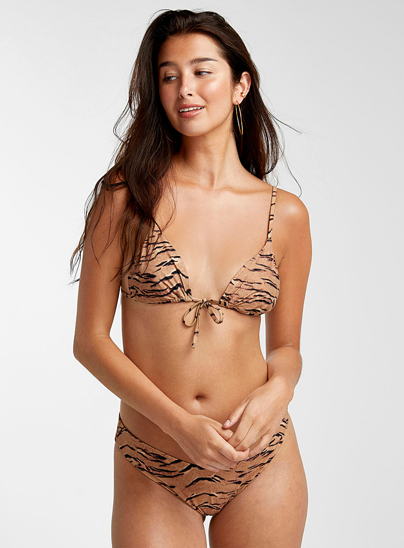 WeWoreWhat Patterned Brown Tiger-print minimalist triangle for women
