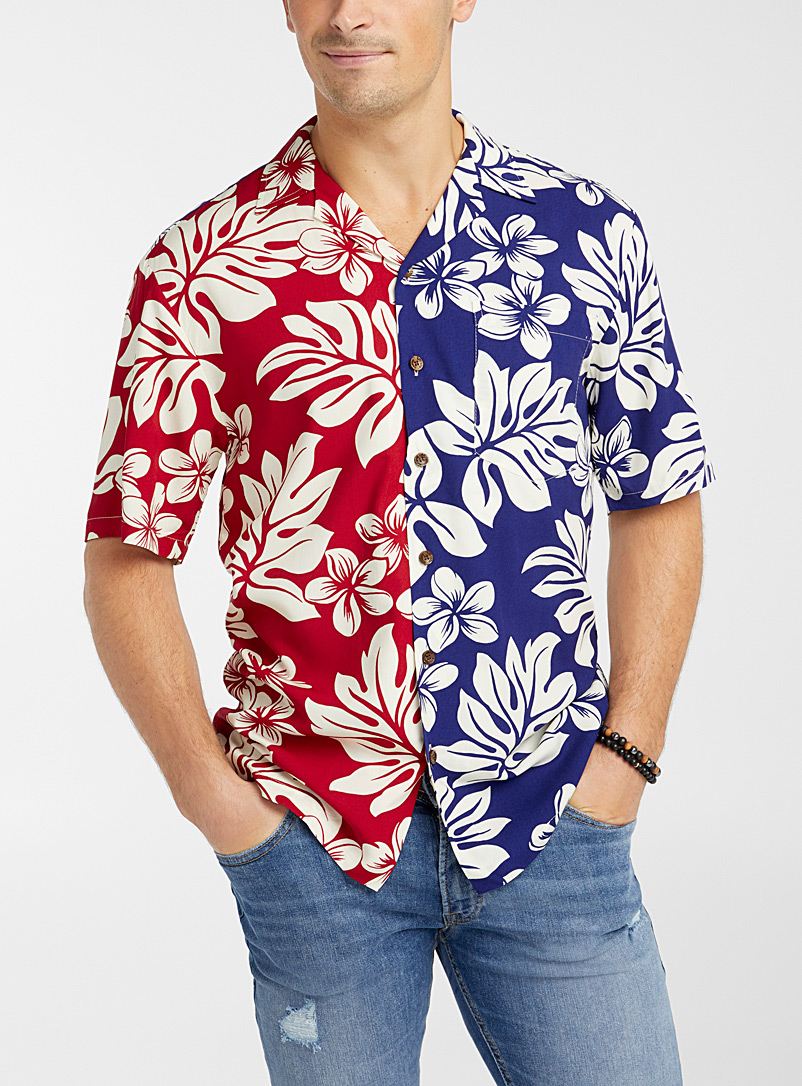 RJC x Simons Marine Blue Tricolour tropical shirt for men