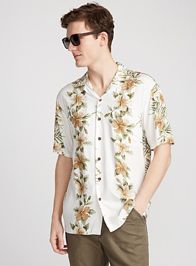 Hibiscus-stripe Hawaiian camp shirt <br>Semi-tailored fit