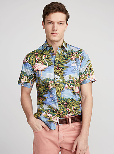 Pink flamingo Hawaiian shirt  Semi-tailored fit