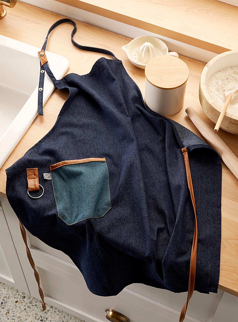 Faux-leather trimmed denim apron - Aprons & Oven Mitts - Slate Blue