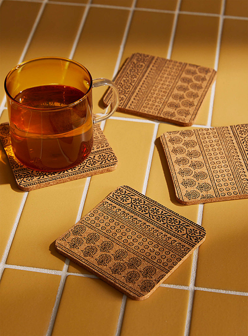 Maharaja's garden cork coasters  Set of 4