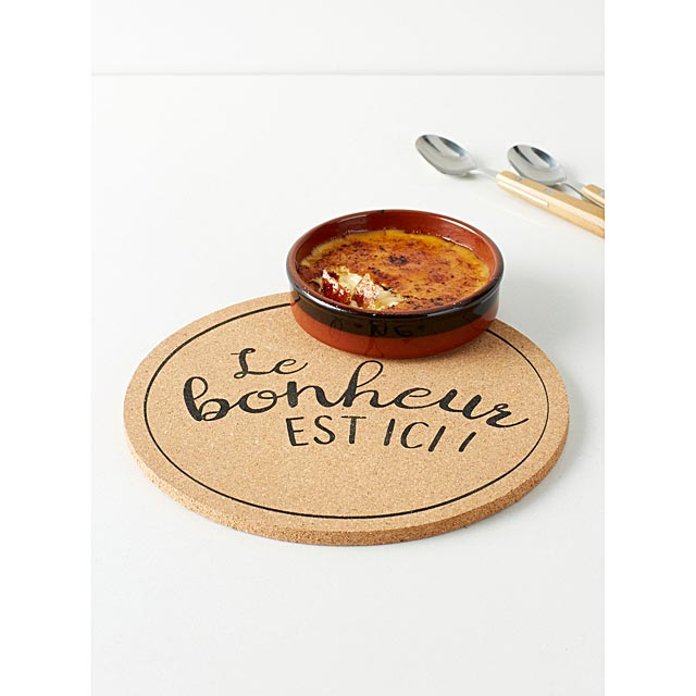happiness-is-here-message-cork-trivet-22-cm-round-shape