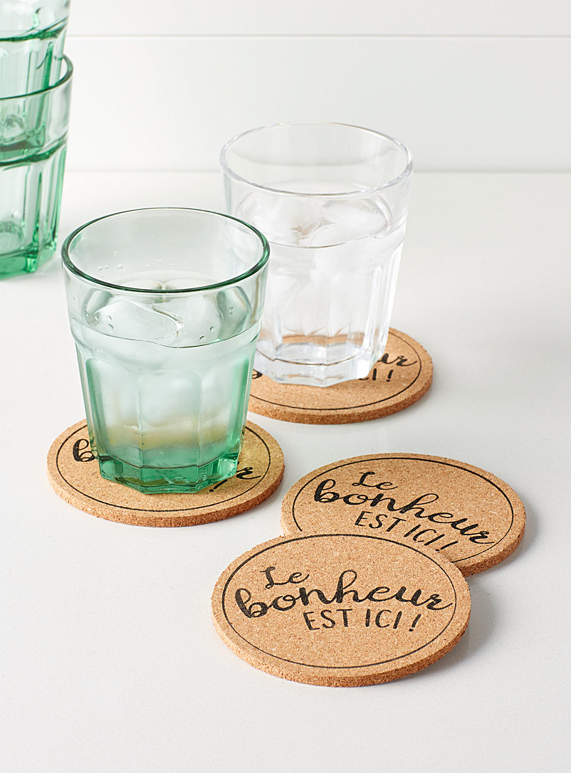 Simons Maison Sand Happiness is here message cork coasters  Set of 4