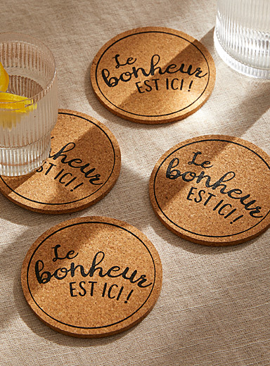 Happiness is here message cork coasters  Set of 4